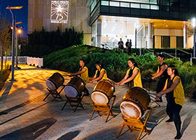 Taiko drummers at 75th Anniversary party