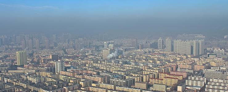 Harbin in smog, China