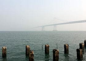 Bridge in hazy air
