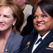 Dr. Pamela Peeke (left), an alumna of the School of Public Health and the College of Natural Resources, and Surgeon General Regina Benjamin. The Surgeon General came to campus at Dr. Peeke's invitation.