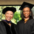 Keynote speaker Angela Glover Blackwell J.D., founder and CEO of PolicyLink, with Lucinda Bazile M.P.H. '94, president of the Public Health Alumni Association
