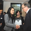 Dan Quigley, East Bay Community Foundation, greets Vaness Au, a Kaiser Permantente Public Health Scholarship recipient