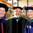 Dean Stephen Shortell; Associate Dean Arthur Reingold; Commencement speaker and UCSF Chancellor Susan Desmond-Hellmann M.D., M.P.H. '88