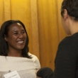 Scholars from the 2010-11 scholars class sharing a laugh are Angela Jenkins and Lani Riccobuono.