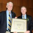 Chancellor Robert Birgeneau presents Dean Stephen Shortell with the Berkeley Citation