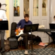 A jazz trio from Berkeley's jazz program play for guests