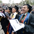 Graduating students unite in song at the 2015 UC Berkeley School of Public Health Commencement.