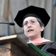 Nancy Krieger PhD '89, professor of social epidemiology at the Harvard T.H. Chan School of Public Health, delivers the keynote address at the 2015 UC Berkeley School of Public Health Commencement.