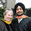 Lori Dorfman DrPH '94, MPH with Public Health Alumni Association President Baljeet Sangha MPH '10, who presented her with the Alumna of the Year award.