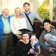 Graduating student Catherine Josling (front) with guests.