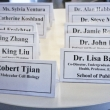 Image of name cards line a table.
