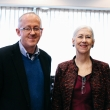 Dean Stefano M. Bertozzi with Shannon Brownlee, journalist and senior vice president of the Lown Institute