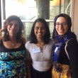 SPH alumnae and PHAA board members Zahwa Amad, Praneetha Mullangi BA '14 and Sarah Ismail MPH '11 chat at the Cal Day happy hour at Triple Rock.