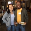 First year IDV MPH students Phoebe Lu and Gathenji Njoroge chat at the Cal Day happy hour