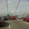 a motorcyclist lane-splitting